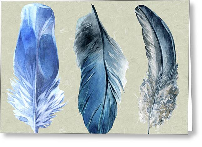 Watercolor Hand Painted Feathers Greeting Card by Heinz G Mielke