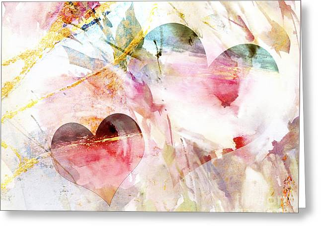 Watercolor Hearts Abstract Greeting Card by WALL ART and HOME DECOR