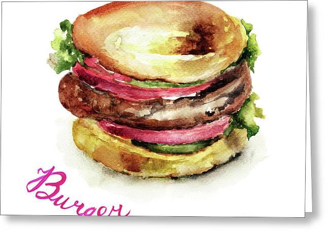Watercolor Illustration Of Hamburger Greeting Card