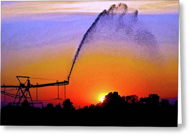 Watercolor Irrigation Sunset 3243 W_2 Greeting Card