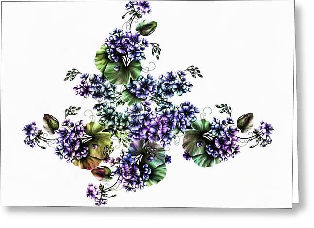 Watercolor Kissed Geraniums Greeting Card