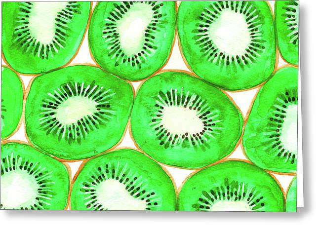 Watercolor Kiwi Slices Pattern Greeting Card