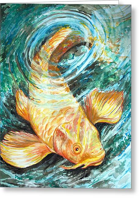 Watercolor Koi Study Greeting Card