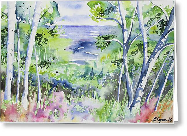 Greeting Card featuring the painting Watercolor - Lake Superior Impression by Cascade Colors