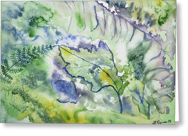 Greeting Card featuring the painting Watercolor - Leaves And Textures Of Nature by Cascade Colors