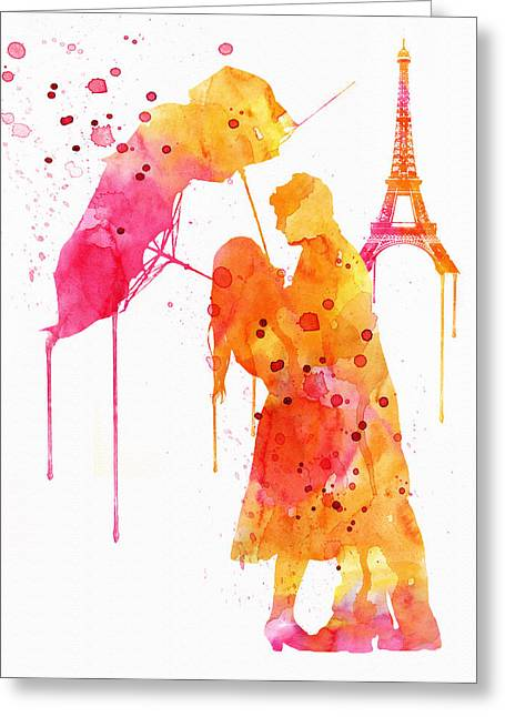 Watercolor Love Couple In Paris Greeting Card