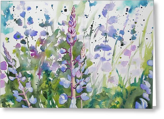 Watercolor - Lupine Wildflowers Greeting Card