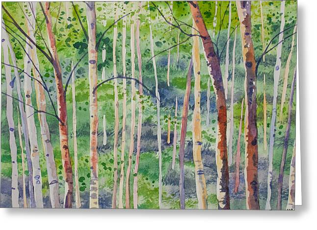 Greeting Card featuring the painting Watercolor - Magical Aspen Forest After A Spring Rain by Cascade Colors
