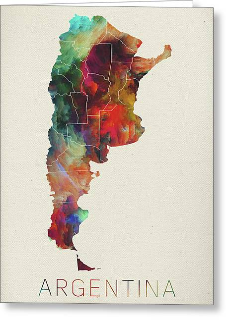 Watercolor Map Of Argentina Greeting Card by Design Turnpike