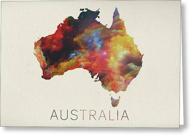 Watercolor Map Of Australia Greeting Card by Design Turnpike