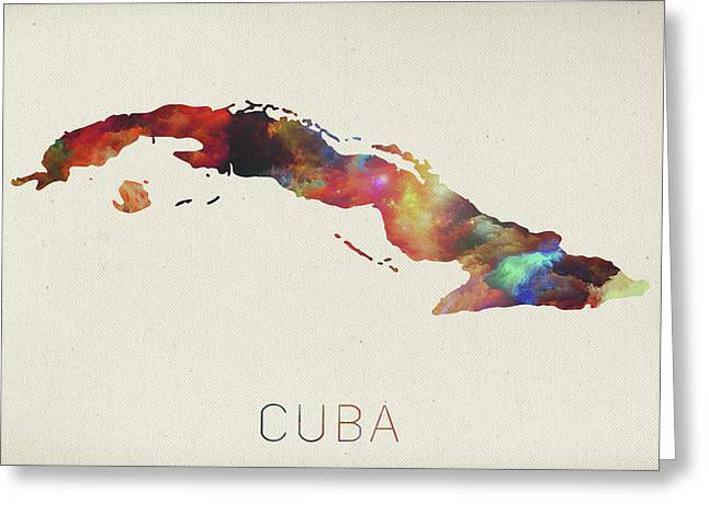 Watercolor Map Of Cuba Greeting Card
