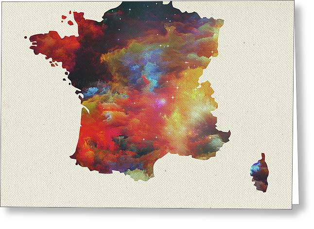 Watercolor Map Of France Greeting Card by Design Turnpike