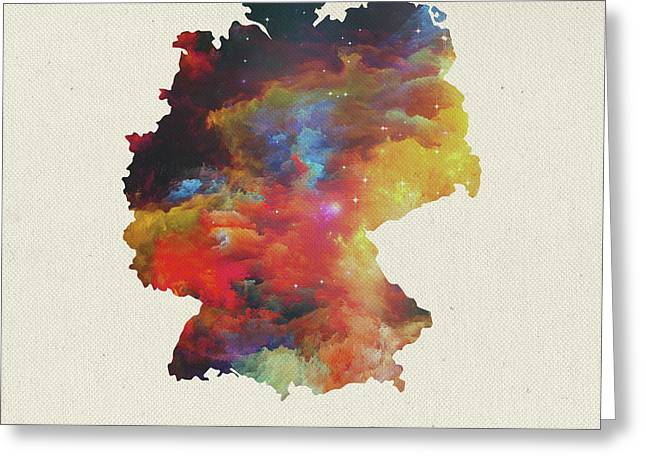 Watercolor Map Of Germany Greeting Card