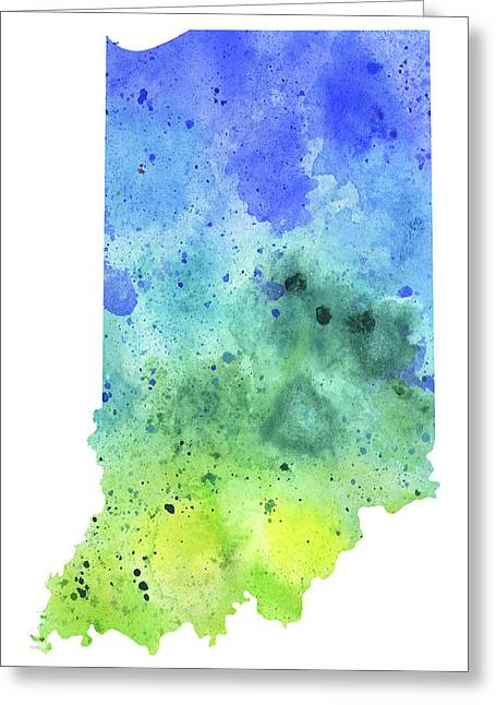 Watercolor Map Of Indiana,  In Blue And Green Greeting Card by Andrea Hill