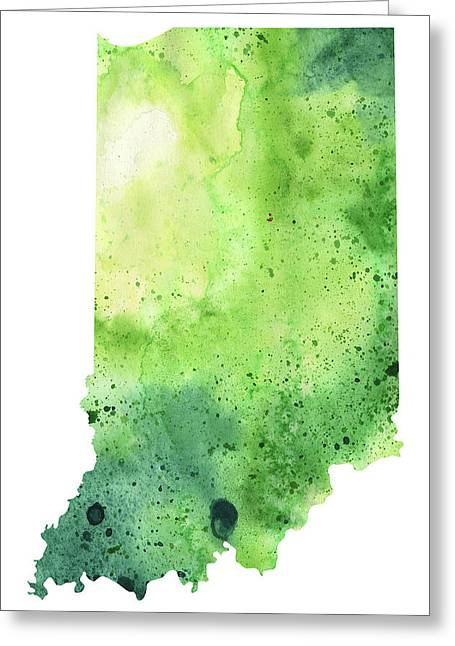 Watercolor Map Of Indiana,  In Green  Greeting Card by Andrea Hill