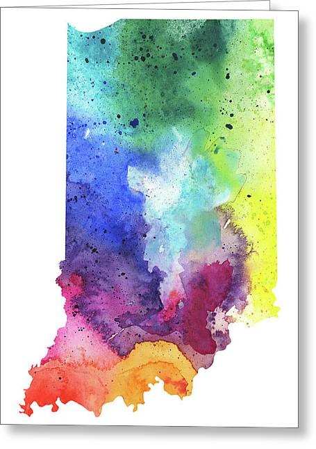 Watercolor Map Of Indiana,  In Rainbow Colors  Greeting Card by Andrea Hill