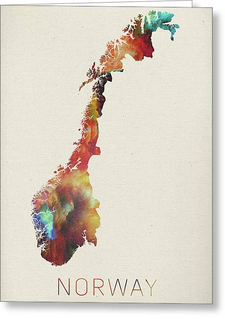 Watercolor Map Of Norway Greeting Card