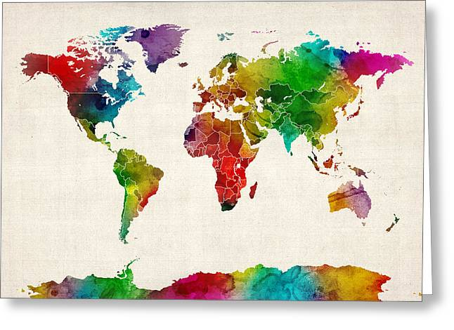 Cartography Greeting Cards - Watercolor Map of the World Map Greeting Card by Michael Tompsett