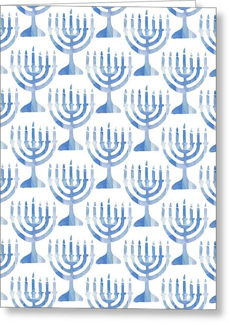 Watercolor Menorahs- Art By Linda Woods Greeting Card