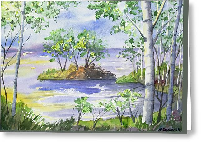 Greeting Card featuring the painting Watercolor - Minnesota North Shore Landscape by Cascade Colors