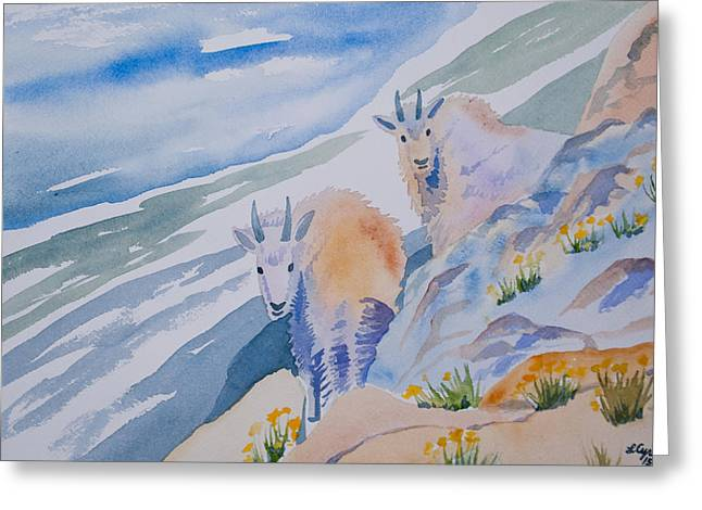 Greeting Card featuring the painting Watercolor - Mountain Goats On Quandary by Cascade Colors