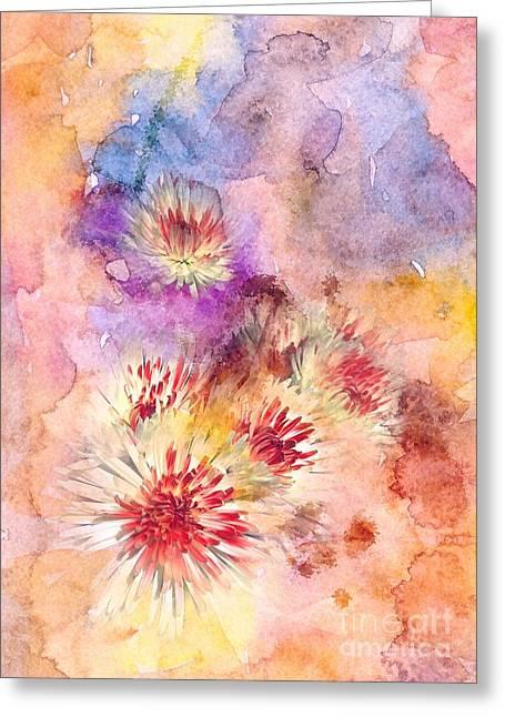 Watercolor Mums Greeting Card