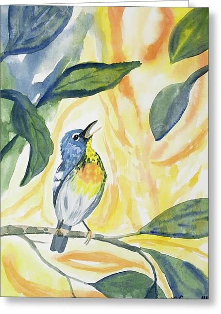 Greeting Card featuring the painting Watercolor - Northern Parula In Song by Cascade Colors