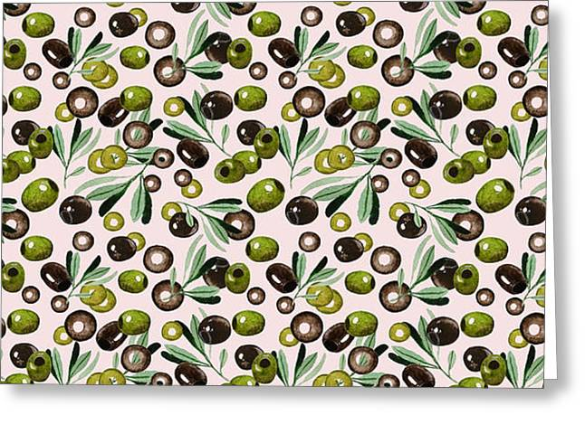 Watercolor Olives Seamless Pattern Greeting Card