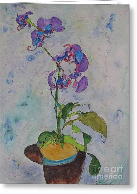 Watercolor Orchid Greeting Card by James Sheppard