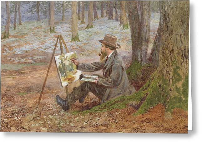Artist At Work Greeting Cards - Watercolor painting in the woods at Knole Park Greeting Card by Charles Green