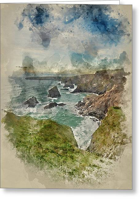 Watercolor Painting Of Beautiful Landcape Image Of Bedruthan Steps On Cornwall Coast In England Greeting Card