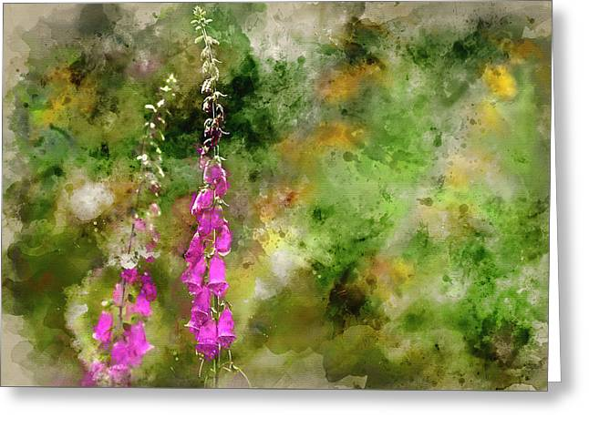 Watercolor Painting Of Beautiful Summer Garden Landscape With Be Greeting Card