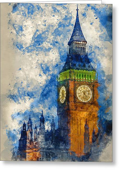 Watercolor Painting Of Big Ben At Twilight Witth Lights Making A Greeting Card by Matthew Gibson