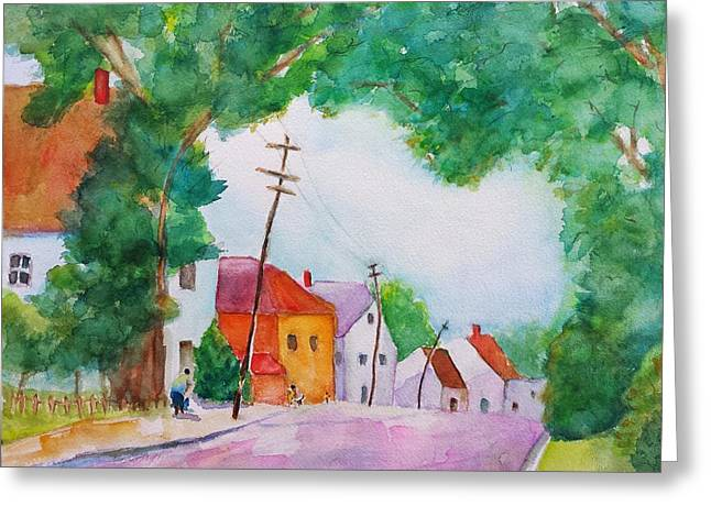 Watercolor Painting Of Cottage Street Greeting Card