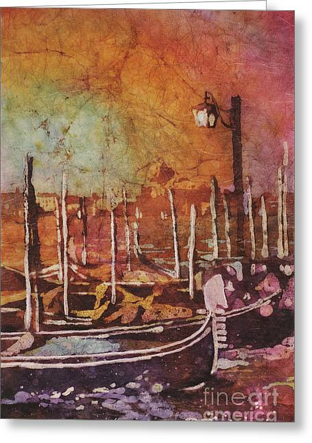Watercolor Painting Of Gondola Boats On Piazza San Marco At Sunset In The Medieval City Of Venice I Greeting Card by Ryan Fox