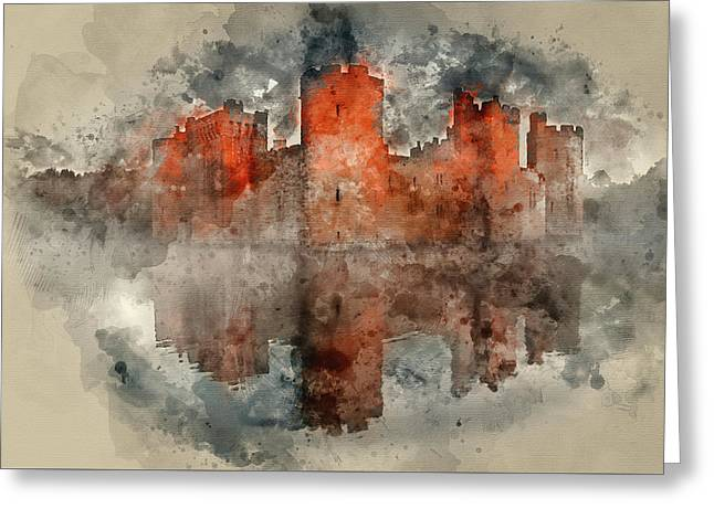 Watercolor Painting Of Stunning Moat And Castle In Autumn Fall S Greeting Card by Matthew Gibson