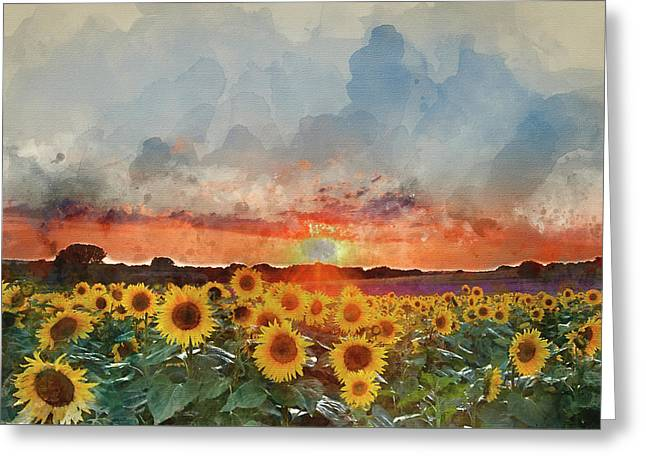 Watercolor Painting Of Sunflower Summer Sunset Landscape With Bl Greeting Card