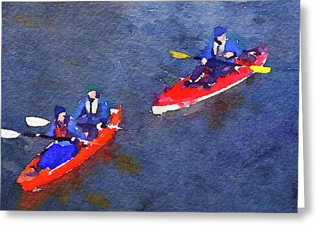Watercolor Painting Of Two Canoes Greeting Card by Anita Van Den Broek