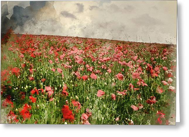 Watercolor Painting Of Vivid Color Red Poopy Field Landscape Under Stormy Sky Greeting Card