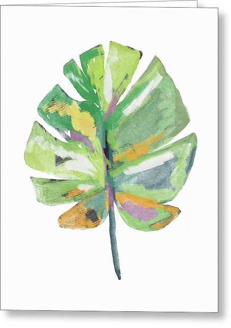 Greeting Card featuring the mixed media Watercolor Palm Leaf- Art By Linda Woods by Linda Woods