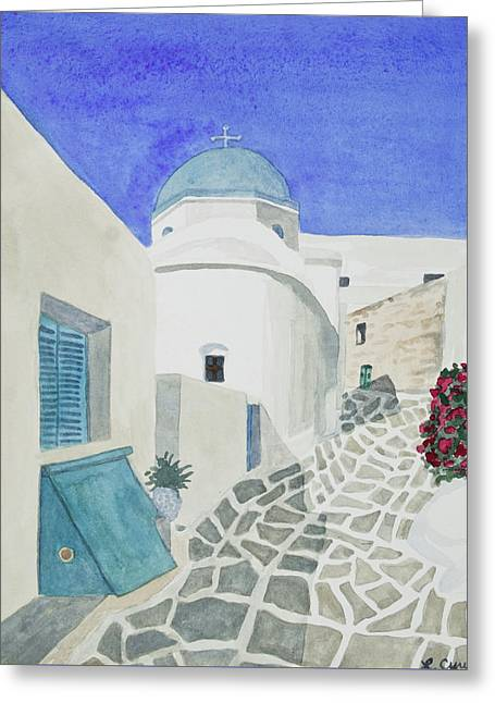 Watercolor - Paros Church And Street Scene Greeting Card