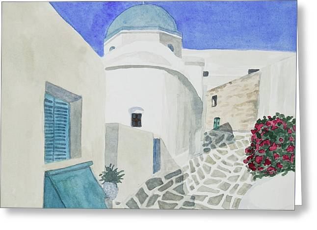 Greeting Card featuring the painting Watercolor - Paros Church And Street Scene by Cascade Colors