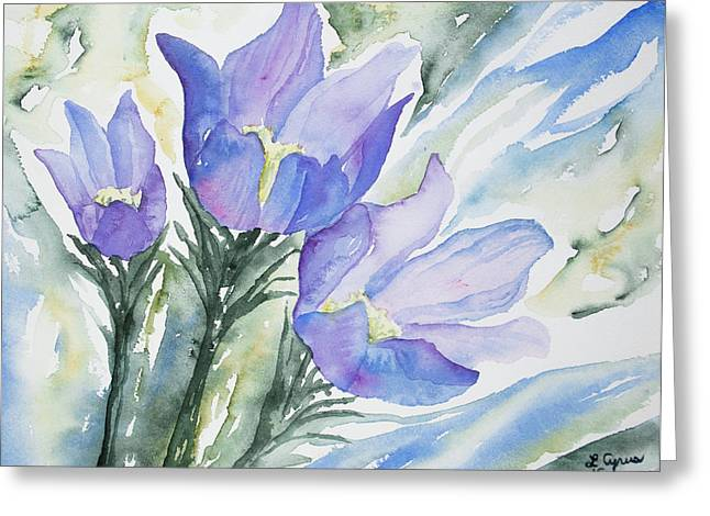 Watercolor - Pasque Flowers Greeting Card