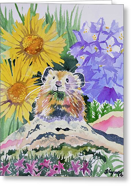 Watercolor - Pika With Wildflowers Greeting Card