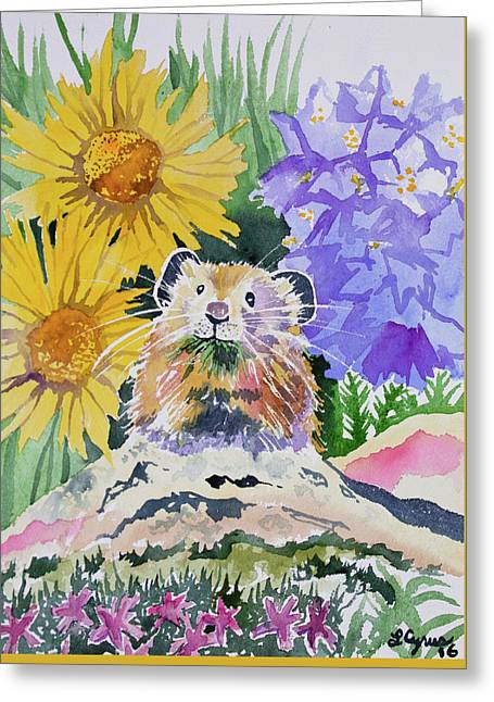 Greeting Card featuring the painting Watercolor - Pika With Wildflowers by Cascade Colors