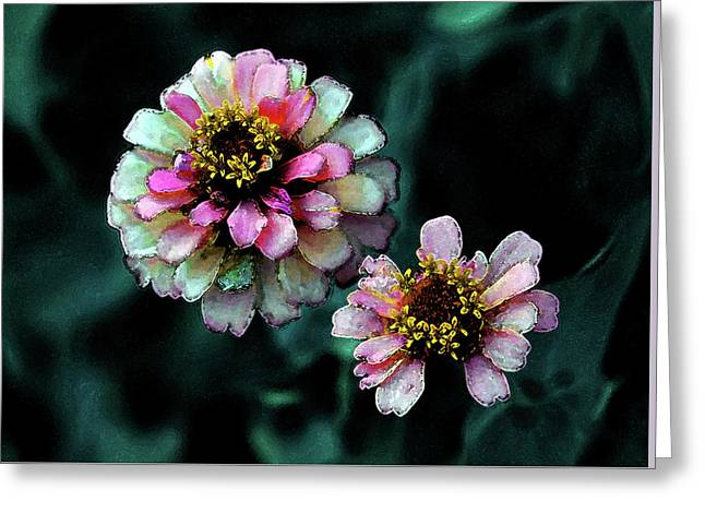 Watercolor Pink Zinnias And Smoke 2227 W_2 Greeting Card