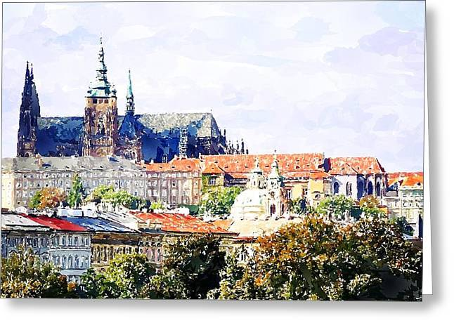 Watercolor Prague Castle Painting Greeting Card
