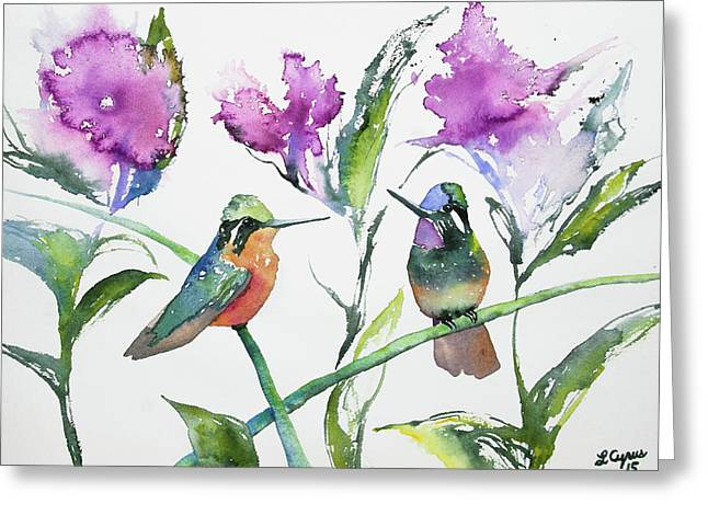 Greeting Card featuring the painting Watercolor - Purple-throated Mountain Gems And Flowers by Cascade Colors