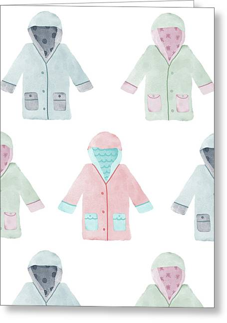 Watercolor Rain Coats Greeting Card by Christina Steward