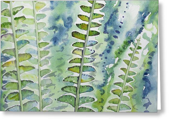 Greeting Card featuring the painting Watercolor - Rainforest Fern Impressions by Cascade Colors